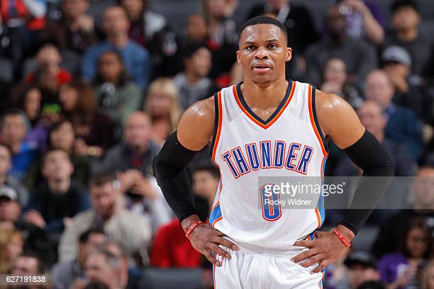 Russell Westbrook of the Oklahoma City Thunder looks on during the game against the Sacramento Kings on November 23 2016 at Golden 1 Center in...