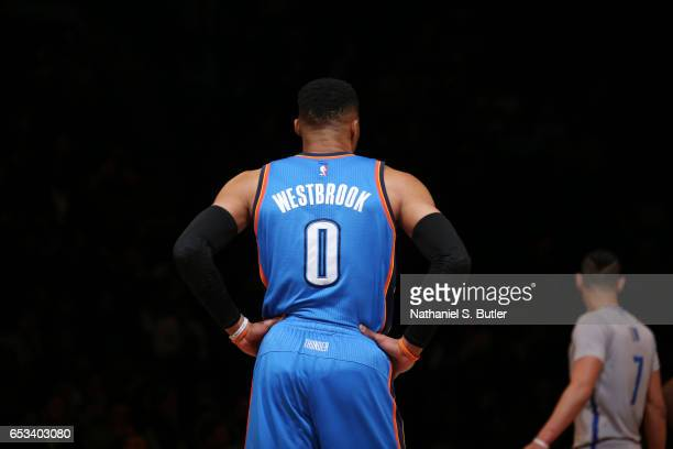 Russell Westbrook of the Oklahoma City Thunder looks on during the game against the Brooklyn Nets on March 14 2017 at Barclays Center in Brooklyn New...