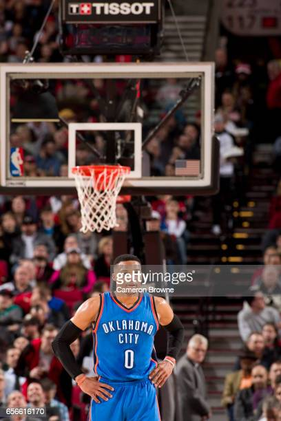 Russell Westbrook of the Oklahoma City Thunder looks on during the game against the Portland Trail Blazers on March 2 2017 at the Moda Center in...