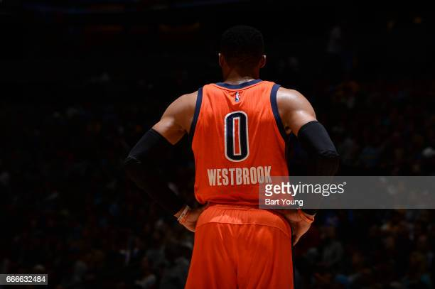 Russell Westbrook of the Oklahoma City Thunder looks on during the game against the Denver Nuggets on April 9 2017 at the Pepsi Center in Denver...