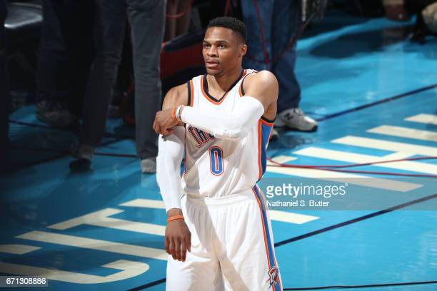 Russell Westbrook of the Oklahoma City Thunder looks on during the game against the Houston Rockets during Game Three of the Western Conference...