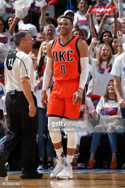 Russell Westbrook of the Oklahoma City Thunder looks on during the game against the Houston Rockets in Game Four during the Western Conference...