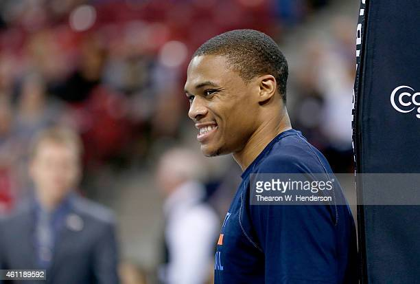 Russell Westbrook of the Oklahoma City Thunder looks on during warm ups prior to the game against Sacramento Kings at Sleep Train Arena on January 7...