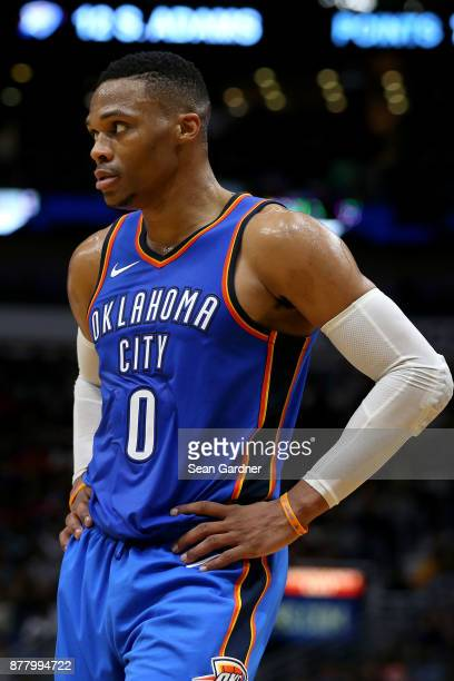 Russell Westbrook of the Oklahoma City Thunder looks on prior to a NBA game against the New Orleans Pelicans at the Smoothie King Center on November...