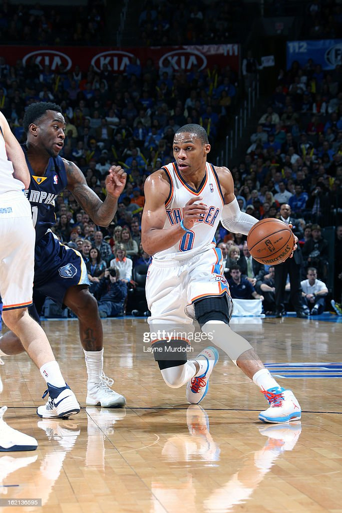 Russell Westbrook #0 of the Oklahoma City Thunder looks to drive to the basket against the Memphis Grizzlies on January 31, 2013 at the Chesapeake Energy Arena in Oklahoma City, Oklahoma.