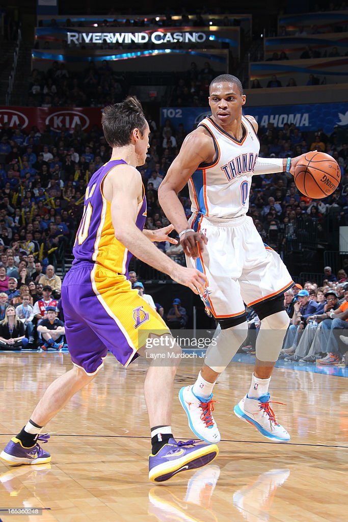<a gi-track='captionPersonalityLinkClicked' href=/galleries/search?phrase=Russell+Westbrook&family=editorial&specificpeople=4044231 ng-click='$event.stopPropagation()'>Russell Westbrook</a> #0 of the Oklahoma City Thunder looks to drive to the basket against the Los Angeles Lakers on March 05, 2013 at the Chesapeake Energy Arena in Oklahoma City, Oklahoma.