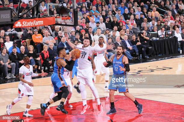 Russell Westbrook of the Oklahoma City Thunder looks to pass the ball during the game against the Portland Trail Blazers on March 2 2017 at the Moda...