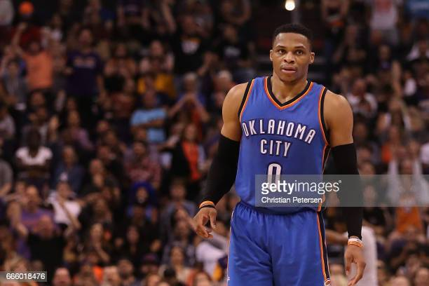 Russell Westbrook of the Oklahoma City Thunder looks to the bench during the second half of the NBA game against the Phoenix Suns at Talking Stick...