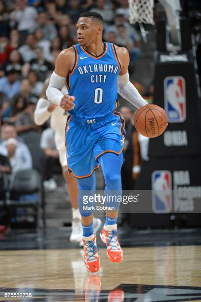 Russell Westbrook of the Oklahoma City Thunder moves down the court against the San Antonio Spurs on November 17 2017 at the ATT Center in San...