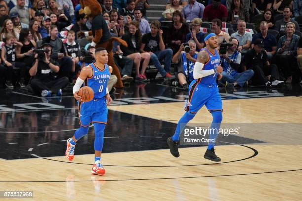 Russell Westbrook of the Oklahoma City Thunder moves up the court against the San Antonio Spurs on November 17 2017 at the ATT Center in San Antonio...