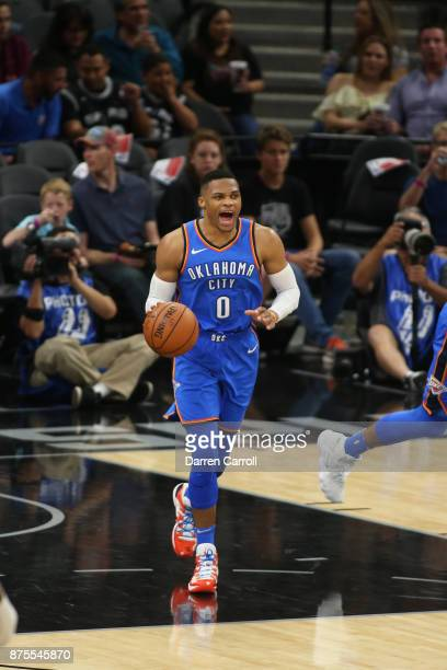 Russell Westbrook of the Oklahoma City Thunder moves up the court against the San Antonio Spursl on November 17 2017 at the ATT Center in San Antonio...