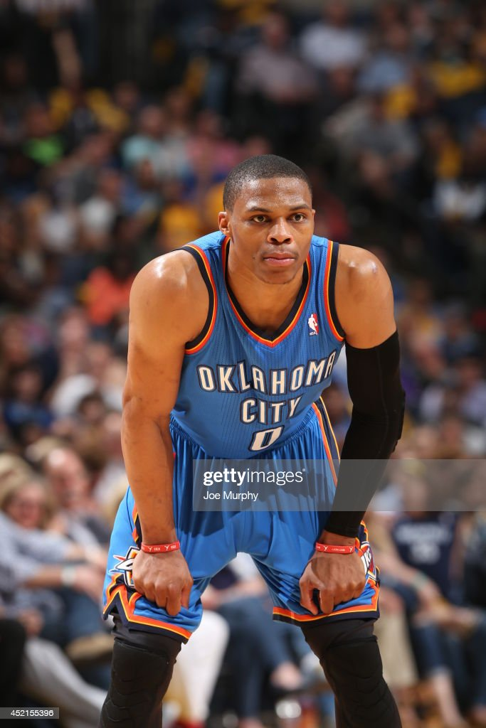 <a gi-track='captionPersonalityLinkClicked' href=/galleries/search?phrase=Russell+Westbrook&family=editorial&specificpeople=4044231 ng-click='$event.stopPropagation()'>Russell Westbrook</a> #0 of the Oklahoma City Thunder on the court against the Memphis Grizzlies in Game Six of the Western Conference Quarterfinals during the 2014 NBA Playoffs on May 3, 2014 at FedExForum in Memphis, Tennessee.
