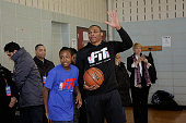Russell Westbrook of the Oklahoma City Thunder participates in NBA Cares/FIT Day of Service at PS 181 Brooklyn during the 2015 NBA AllStar Weekend on...