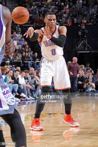 Russell Westbrook of the Oklahoma City Thunder passes against the Sacramento Kings on November 23 2016 at Golden 1 Center in Sacramento California...