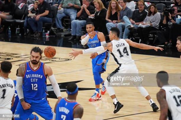 Russell Westbrook of the Oklahoma City Thunder passes the ball against the San Antonio Spurs on November 17 2017 at the ATT Center in San Antonio...