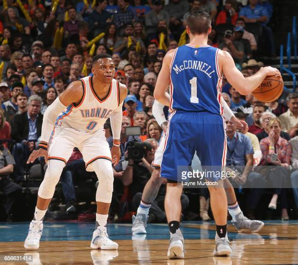 Russell Westbrook of the Oklahoma City Thunder plays defense en route to the first ever perfect triple double in NBA history against the Philadelphia...