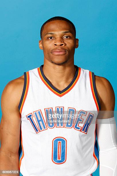 Russell Westbrook of the Oklahoma City Thunder poses for a head shot during 2016 NBA Media Day on September 23 2016 at the Chesapeake Energy Arena in...
