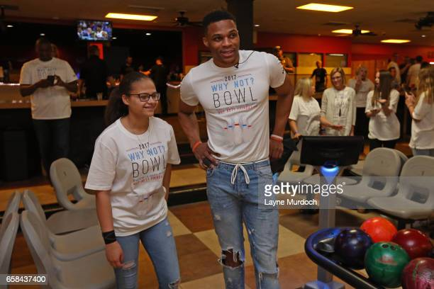 Russell Westbrook of the Oklahoma City Thunder poses for a photo during his 7th annual Why Not Foundation bowling event on March 24 2017 at the AMF...