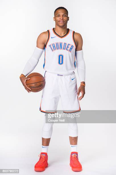 Russell Westbrook of the Oklahoma City Thunder poses for a photo during media day at Chesapeake Energy Arena on September 25 2017 in Oklahoma City...