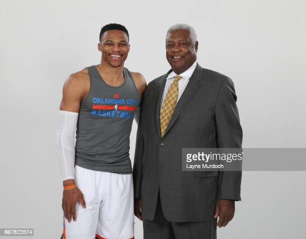 Russell Westbrook of the Oklahoma City Thunder poses for a photo with NBA Legend Oscar Robertson on April 12 2017 at Chesapeake Energy Arena in...