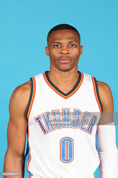 Russell Westbrook of the Oklahoma City Thunder poses for a portrait during 2015 NBA Media Day on September 28 2015 at the Thunder Events Center in...