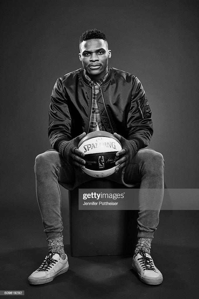<a gi-track='captionPersonalityLinkClicked' href=/galleries/search?phrase=Russell+Westbrook&family=editorial&specificpeople=4044231 ng-click='$event.stopPropagation()'>Russell Westbrook</a> #0 of the Oklahoma City Thunder poses for a portrait during NBA All-Star Weekend on February 12, 2016 at the Sheraton Centre in Toronto, Ontario Canada.