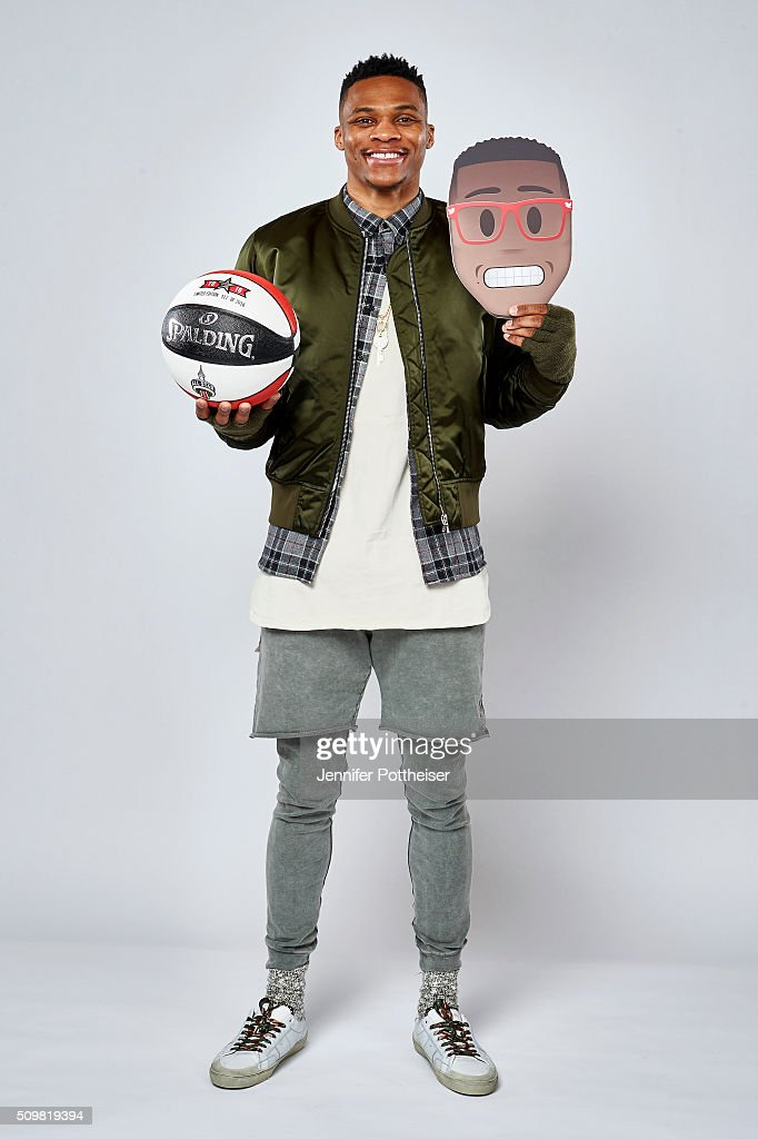 <a gi-track='captionPersonalityLinkClicked' href=/galleries/search?phrase=Russell+Westbrook&family=editorial&specificpeople=4044231 ng-click='$event.stopPropagation()'>Russell Westbrook</a> #0 of the Oklahoma City Thunder poses for a portrait with the twitter emoji during NBA All-Star Weekend on February 12, 2016 at the Sheraton Centre in Toronto, Ontario Canada.