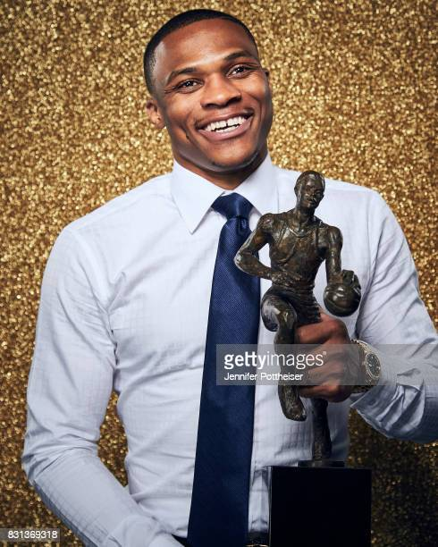 Russell Westbrook of the Oklahoma City Thunder poses for a portrait after winning the NBA MVP Award at the NBA Awards Show on June 26 2017 at...