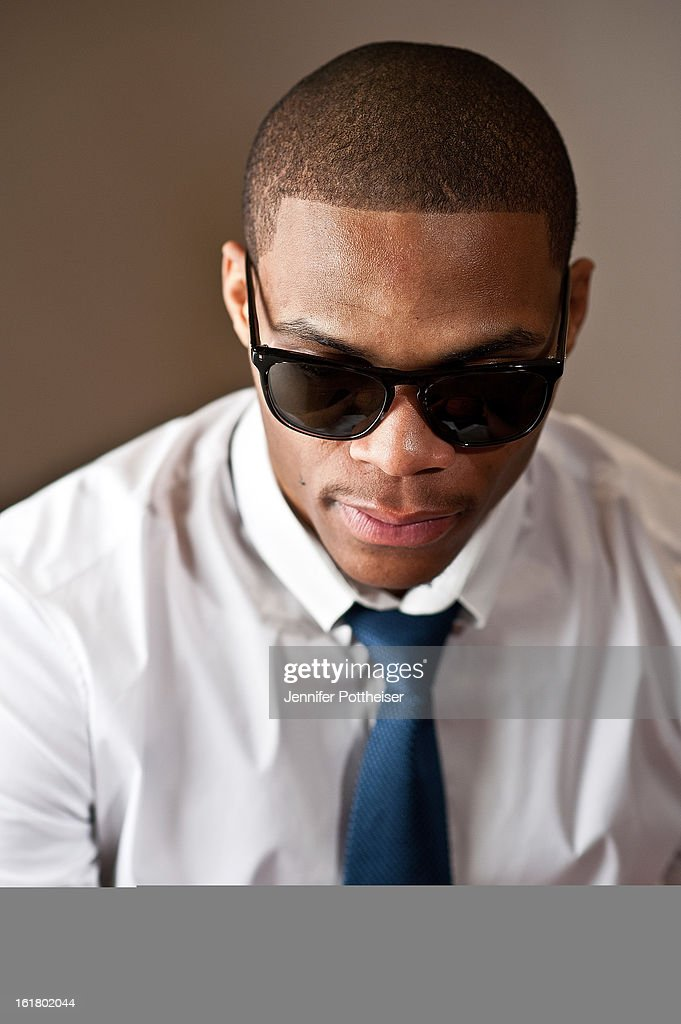Russell Westbrook #0 of the Oklahoma City Thunder poses for portraits during the NBAE Circuit as part of 2013 All-Star Weekend at the Hilton Americas Hotel on February 16, 2013 in Houston, Texas.
