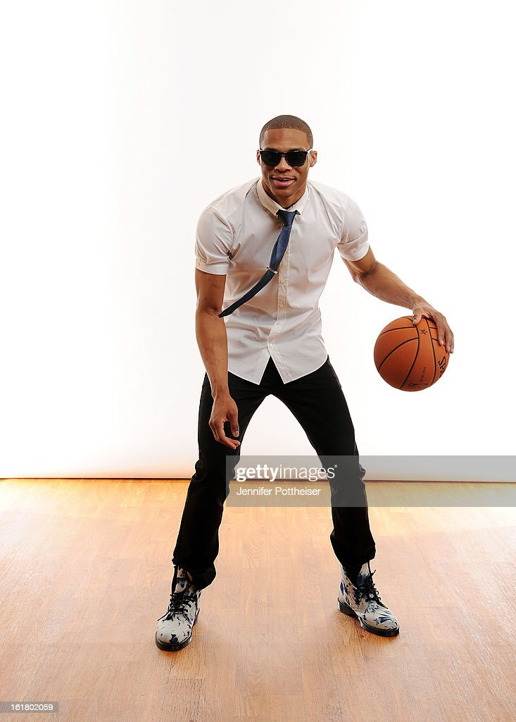 <a gi-track='captionPersonalityLinkClicked' href=/galleries/search?phrase=Russell+Westbrook&family=editorial&specificpeople=4044231 ng-click='$event.stopPropagation()'>Russell Westbrook</a> #0 of the Oklahoma City Thunder poses for portraits during the NBAE Circuit as part of 2013 All-Star Weekend at the Hilton Americas Hotel on February 16, 2013 in Houston, Texas.