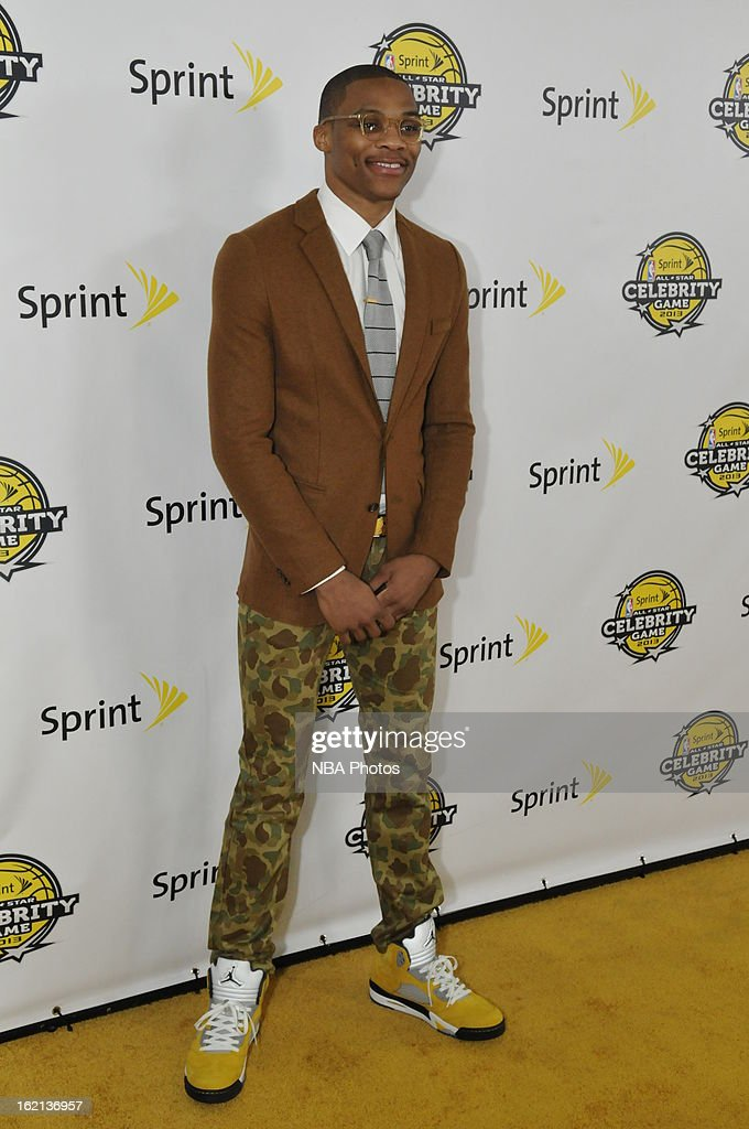 <a gi-track='captionPersonalityLinkClicked' href=/galleries/search?phrase=Russell+Westbrook&family=editorial&specificpeople=4044231 ng-click='$event.stopPropagation()'>Russell Westbrook</a> of the Oklahoma City Thunder poses on the red carpet prior to the Sprint NBA All-Star Celebrity Game in Sprint Arena at Jam Session during the NBA All-Star Weekend on February 15, 2013 at the George R. Brown Convention Center in Houston, Texas.