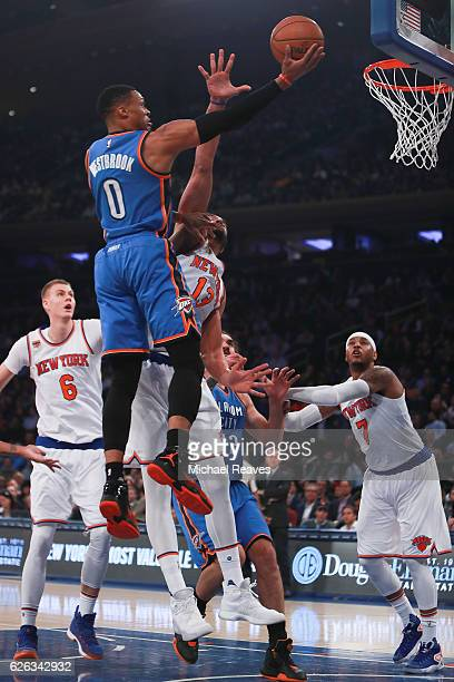 Russell Westbrook of the Oklahoma City Thunder puts up a layup against the New York Knicks during the first half at Madison Square Garden on November...