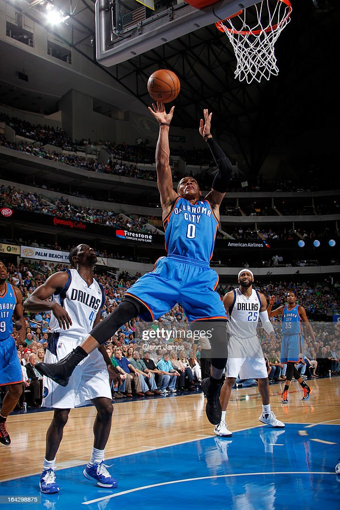 Russell Westbrook #0 of the Oklahoma City Thunder puts up a shot against the Dallas Mavericks on March 17, 2013 at the American Airlines Center in Dallas, Texas.