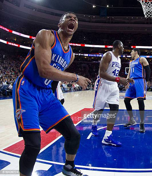 Russell Westbrook of the Oklahoma City Thunder reacts after a dunk against Elton Brand of the Philadelphia 76ers on March 18 2016 at the Wells Fargo...