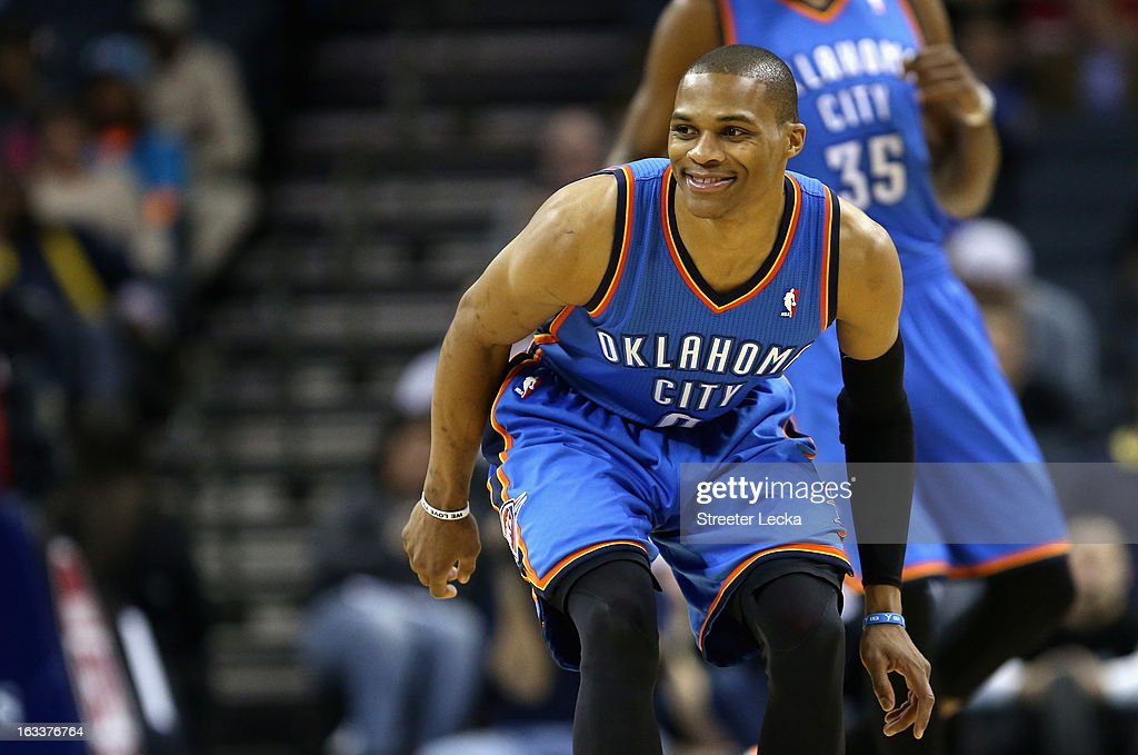 Russell Westbrook #0 of the Oklahoma City Thunder reacts after a play during their game against the Charlotte Bobcats at Time Warner Cable Arena on March 8, 2013 in Charlotte, North Carolina.