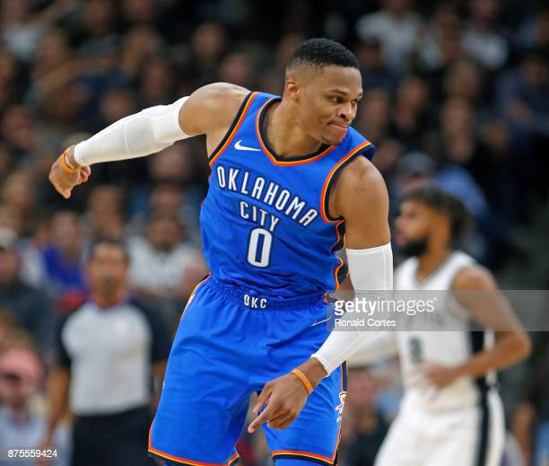 Russell Westbrook of the Oklahoma City Thunder reacts after missing a shot during game against the San Antonio Spurs at ATT Center on November 17...