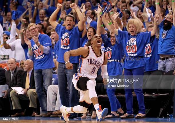 Russell Westbrook of the Oklahoma City Thunder reacts after scoring while fouled against the Los Angeles Lakers during Game Five of the Western...