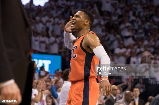 Russell Westbrook of the Oklahoma City Thunder reacts after scoring against the Houston Rockets during the first half of Game Four in the 2017 NBA...
