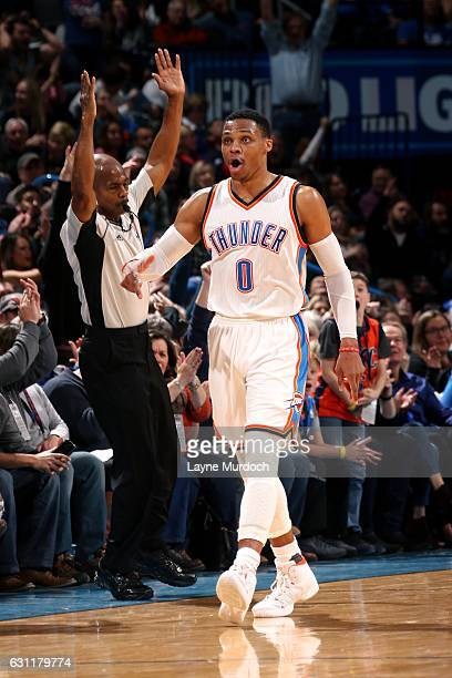 Russell Westbrook of the Oklahoma City Thunder reacts during the game against the Denver Nuggets on January 7 2017 at Chesapeake Energy Arena in...