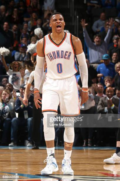 Russell Westbrook of the Oklahoma City Thunder reacts during the game against the Utah Jazz on February 28 2017 at Chesapeake Energy Arena in...