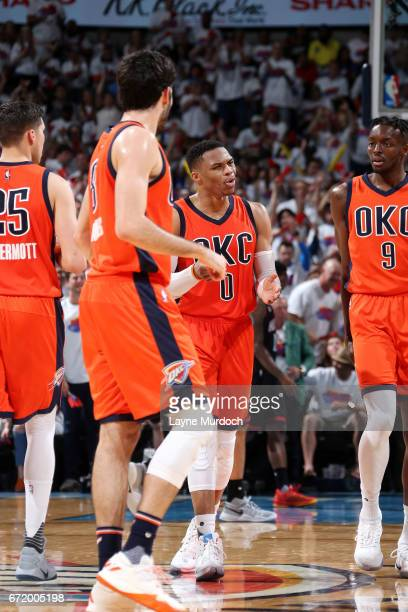 Russell Westbrook of the Oklahoma City Thunder reacts during the game against the Houston Rockets in Game Four during the Western Conference...