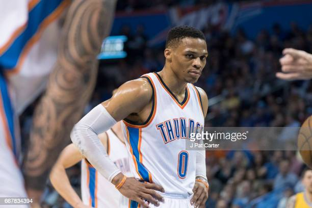 Russell Westbrook of the Oklahoma City Thunder reacts during the first half of a NBA game against the Denver Nuggets at the Chesapeake Energy Arena...