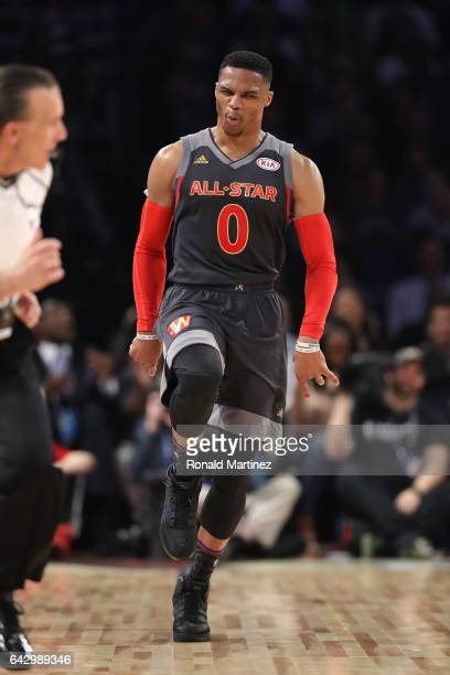 Russell Westbrook of the Oklahoma City Thunder reacts in the first half of the 2017 NBA AllStar Game at Smoothie King Center on February 19 2017 in...