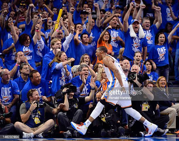 Russell Westbrook of the Oklahoma City Thunder reacts in the second half while taking on the Miami Heat in Game One of the 2012 NBA Finals at...