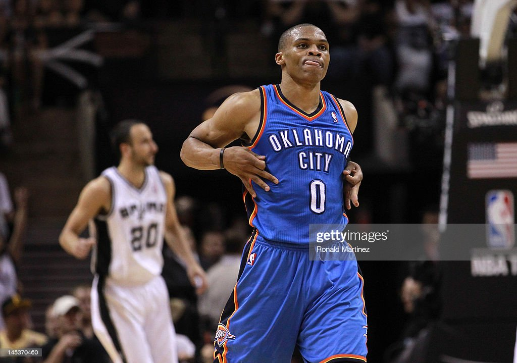 Russell Westbrook #0 of the Oklahoma City Thunder reacts in the third quarter against the San Antonio Spurs in Game One of the Western Conference Finals of the 2012 NBA Playoffs at AT&T Center on May 27, 2012 in San Antonio, Texas.