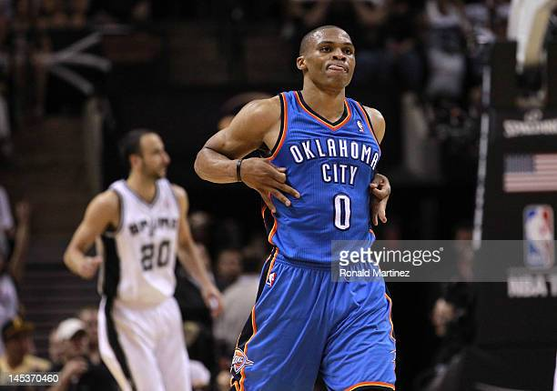 Russell Westbrook of the Oklahoma City Thunder reacts in the third quarter against the San Antonio Spurs in Game One of the Western Conference Finals...