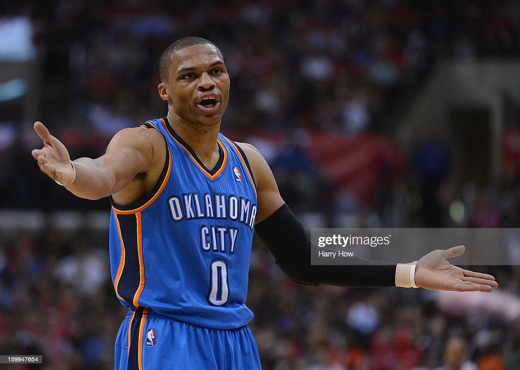 Russell Westbrook #0 of the Oklahoma City Thunder reacts to a call during the game against the Los Angeles Clippers at Staples Center on January 22, 2013 in Los Angeles, California.