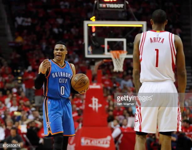 Russell Westbrook of the Oklahoma City Thunder reacts to a foul call in the second half of Game Two of the Western Conference quarterfinals game...