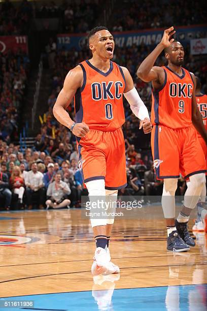 Russell Westbrook of the Oklahoma City Thunder reacts to a play against the Cleveland Cavaliers on February 21 2016 at Chesapeake Energy Arena in...