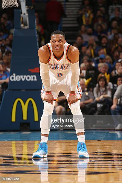 Russell Westbrook of the Oklahoma City Thunder reacts to a play against the Washington Wizards during the game on November 30 2016 at Chesapeake...